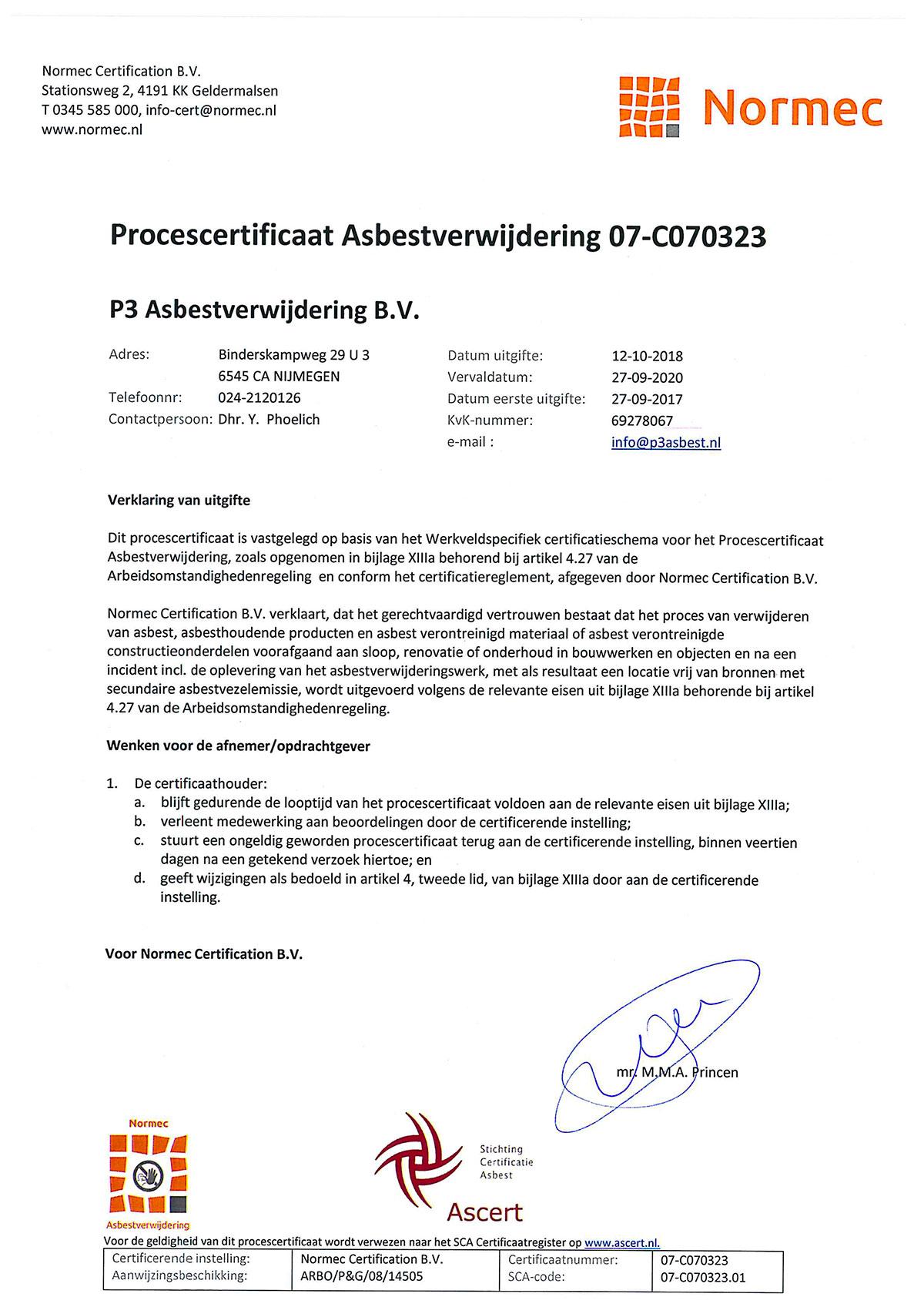Normec certificering | P3 Asbestverwijdering BV